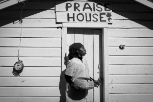 Queen Quet Marquetta L. Goodwine, Chieftess of the Gullah/Geechee Nation, stands outside of one of the three remaining praise houses on St. Helena Island, S.C. Built during the slave era, they were small places of worship for the Gullah and still serve an important spiritual role in the Gullah community.